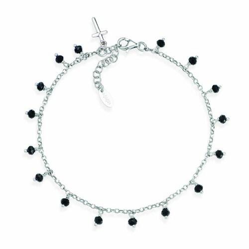 Ankel bracelet with black iridiscent crystals cross charm
