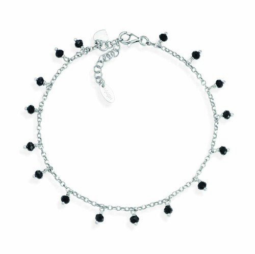 Ankel bracelet with black iridiscent crystals heart charm