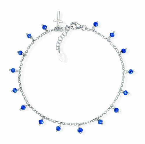 Ankel bracelet with blue iridiscent crystals cross charm