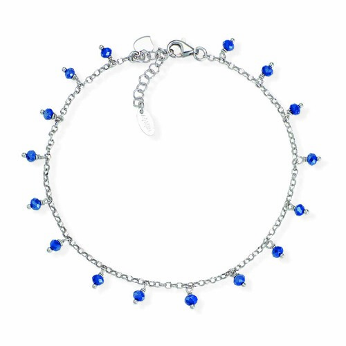 Ankel bracelet with blue iridiscent crystals heart charm
