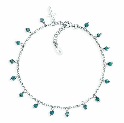 Ankel bracelet with petroleum blue iridiscent crystals cross charm