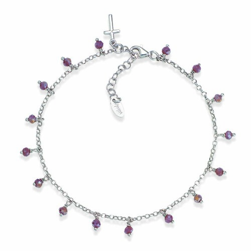 Ankel bracelet with purple iridiscent crystals cross charm