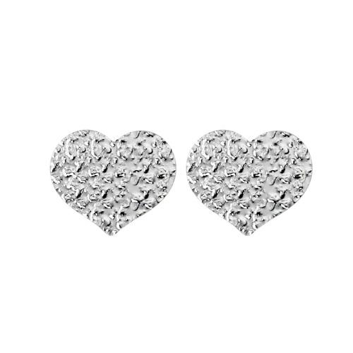 Big Heart Hammered Earrings