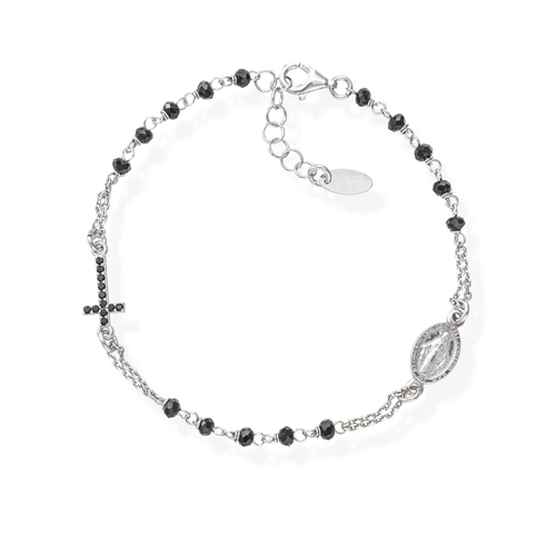Black Crystals and Zirconia Rosary Bracelet
