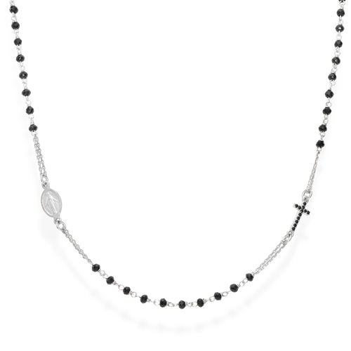Black Crystals and Zirconia Rosary Necklace