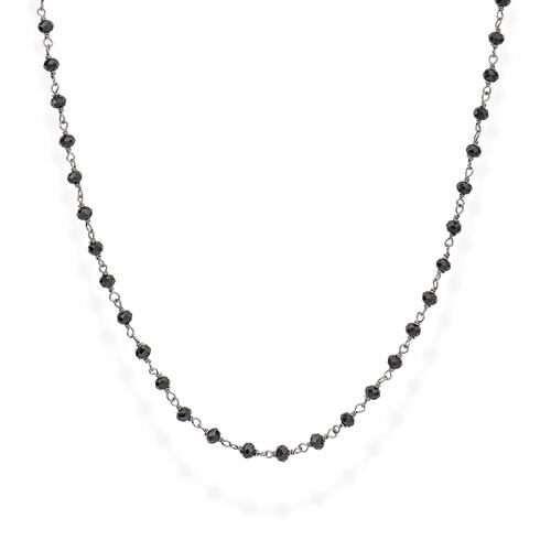 Black Rhodium and Black Crystal Necklace 90cm