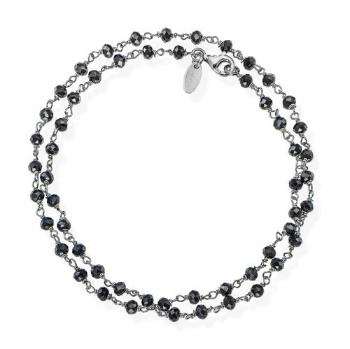 Black Rhodium and Black Crystal two-turn Bracelet