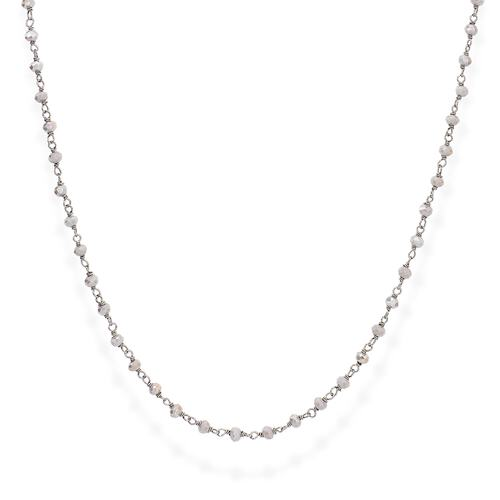 Black Rhodium and Fumé Crystal Necklace 45cm
