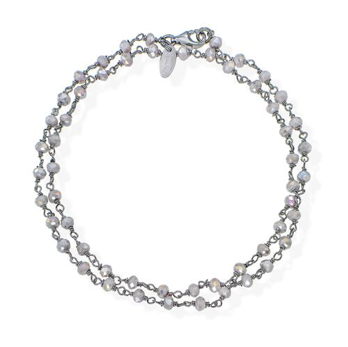 Black Rhodium and Fumé Crystal two-turn Bracelet