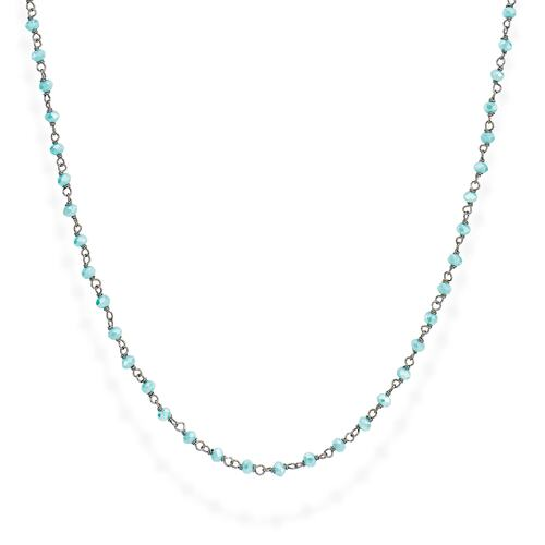 Black Rhodium and Light Blue Crystal Necklace 70cm