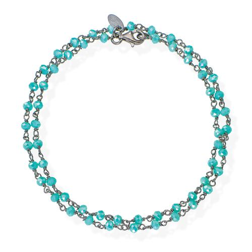 Black Rhodium and Light Blue Crystal two-turn Bracelet
