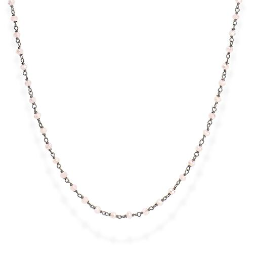 Black Rhodium and Pink Crystal Necklace 70cm