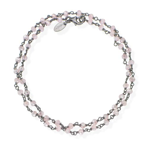 Black Rhodium and Pink Crystal two-turn Bracelet