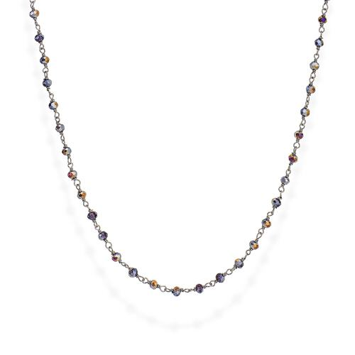 Black Rhodium and Purple Crystal Necklace 70cm