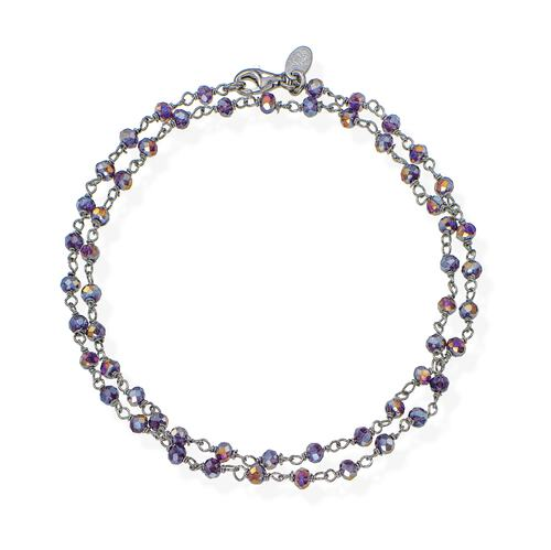 Black Rhodium and Purple Crystal two-turn Bracelet