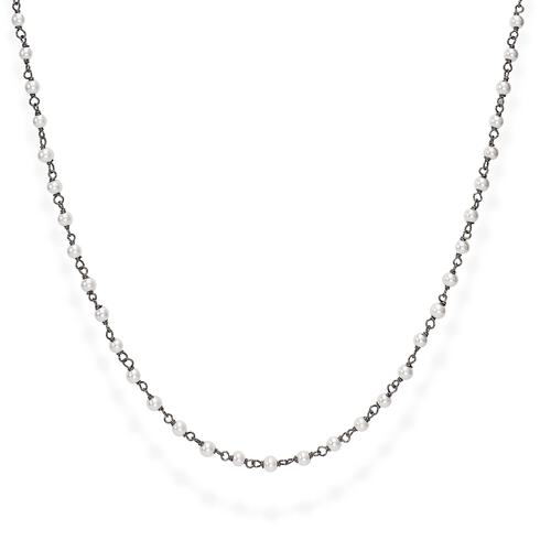 Black Rhodium and White Crystal Necklace 90cm