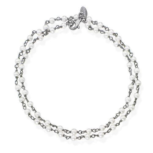 Black Rhodium and White Crystal two-turn Bracelet