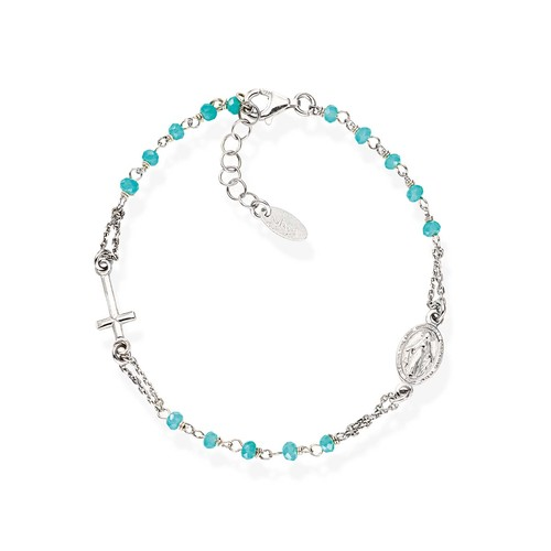 Blue Crystals and Zirconia Rosary Bracelet