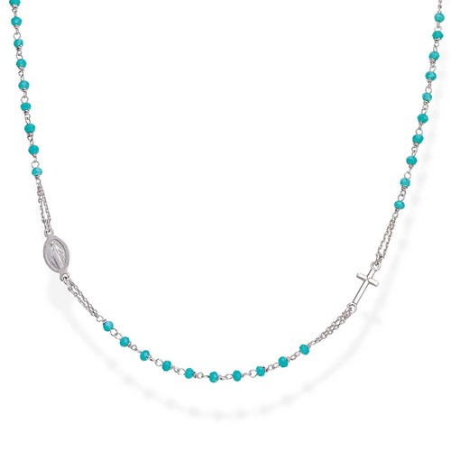 Blue Crystals Rosary Necklace