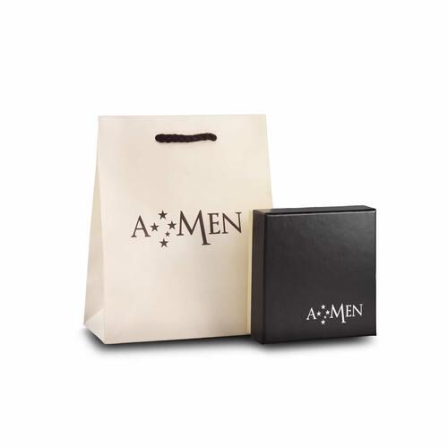 Bracelet angel for man AG925 rhodium black, white zircons and crystals black, length 18+3 cm