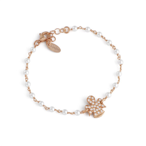 Bracelet angels AG925 with pearls and white zircons