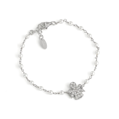 Bracelet angels AG925 with pearls swarovski and white zircons