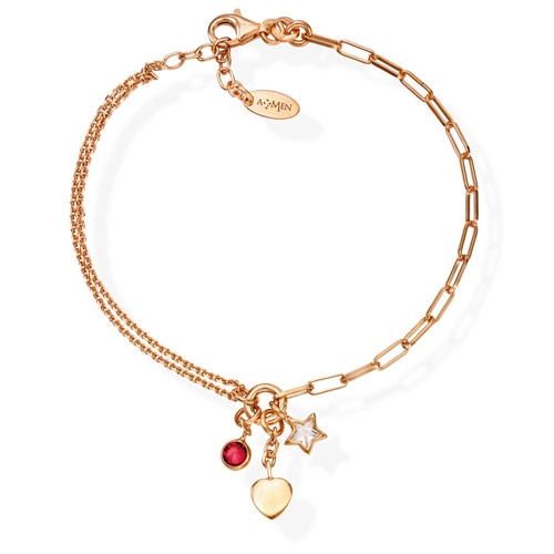 Bracelet Charm Heart Rosè and Crystals