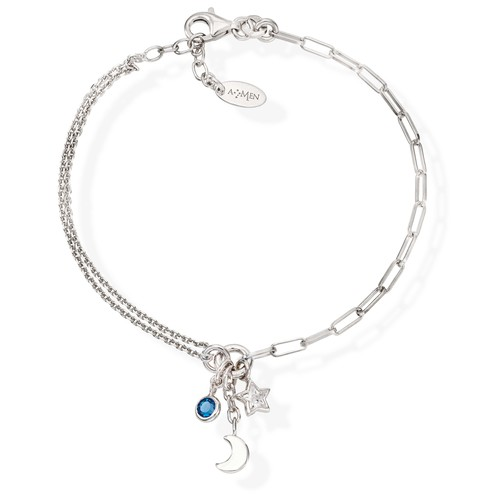 Bracelet Charm Moon Rhodium and Crystals