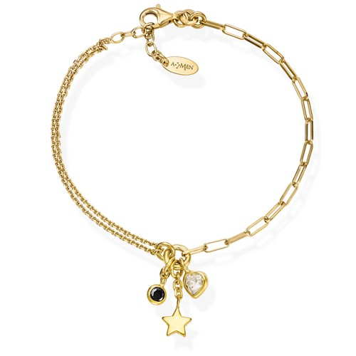 Bracelet Charm Star Golden and Crystals