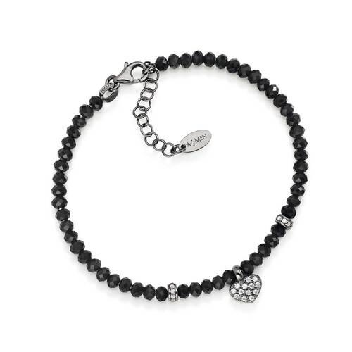 Bracelet con Cristals Black, Heart AG925 rhodium and Zircons bianchi, da uomo