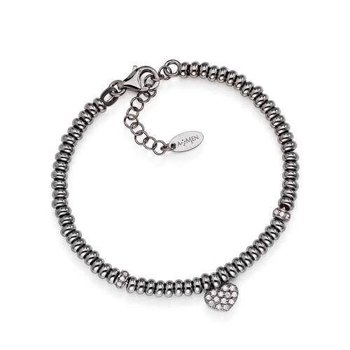 Bracelet con Heart AG925 rhodium and Zircons