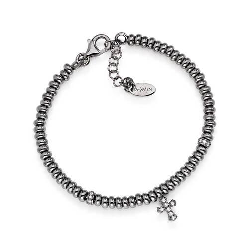Bracelet cross AG925 and white zircons