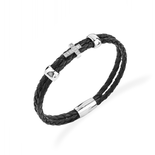 Bracelet Cross Leather Intersect Black