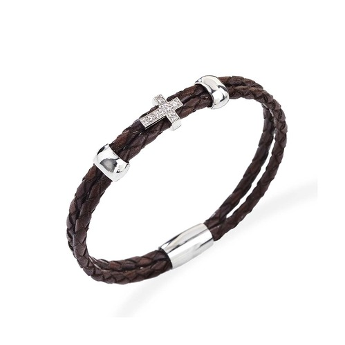 Bracelet Cross Leather Intersect brown
