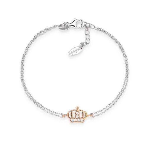 Bracelet Crown in Rhodiume rosè con cubic zirconia White