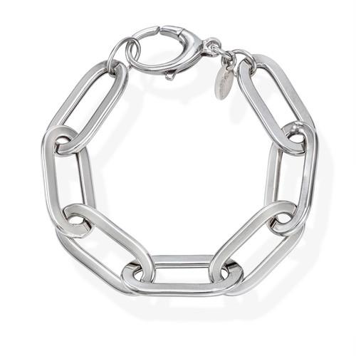 Bracelet Crushed Rolò Chain Oval Rhodium
