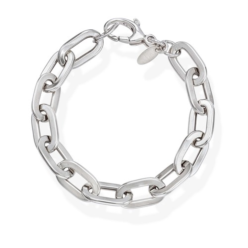 Bracelet Crushed Rolò Chain Square Rhodium