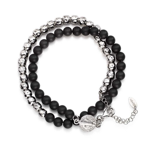 Bracelet double Saint Benedict Rhodium, length 37+4 cm, for man