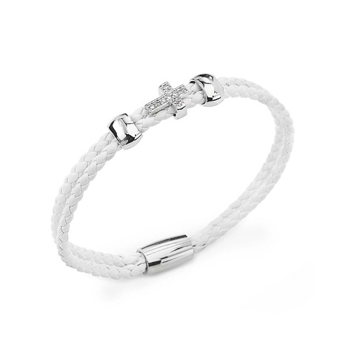 Bracelet frayed leather white with cross AG925