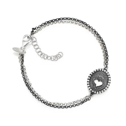 Bracelet Hail heart in AG925 burnished and rhodium