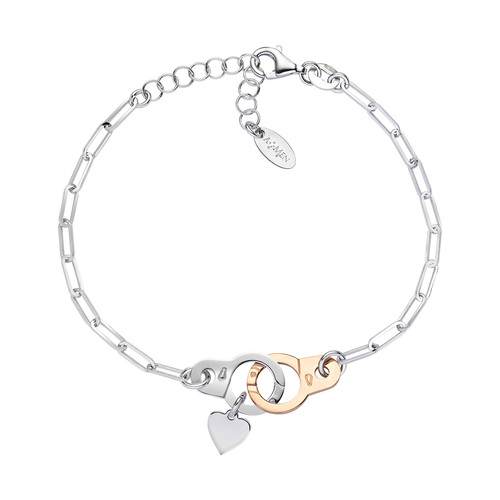 Bracelet Handcuffs and Heart Rhodium and Rosè
