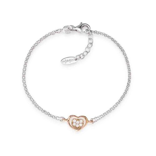 Bracelet Heart in Rhodium and rosè con cubic zirconia White