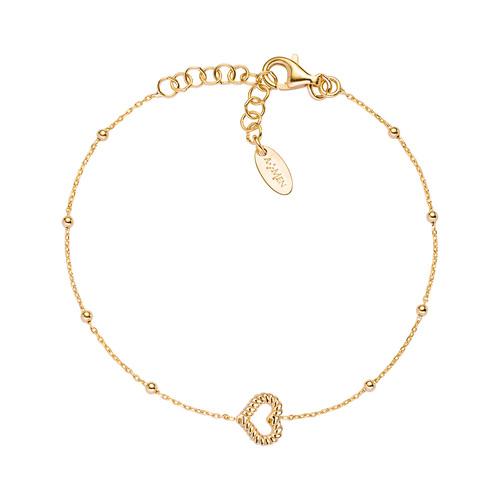 Bracelet Heart Knurled Golden