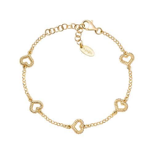 Bracelet Heart Multiple Knurled Golden