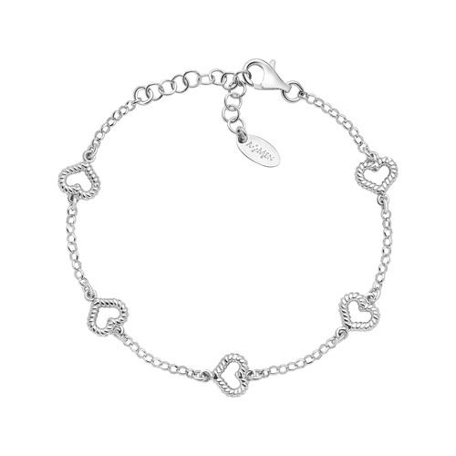 Bracelet Heart Multiple Knurled Rhodium