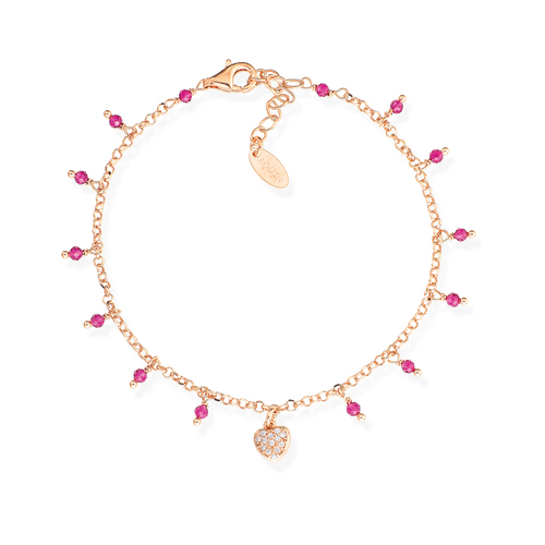 Bracelet Heart Zirconia and Nuggets Pink