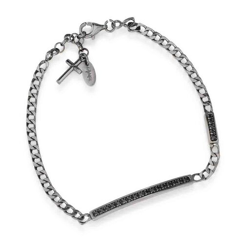 Bracelet in AG925 Black cubic zirconia Cross charm rodio