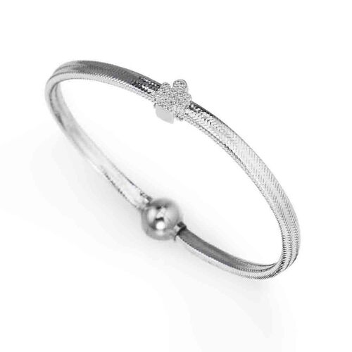 Bracelet in lurex Silver charm Angel in AG925 cubic zirconia