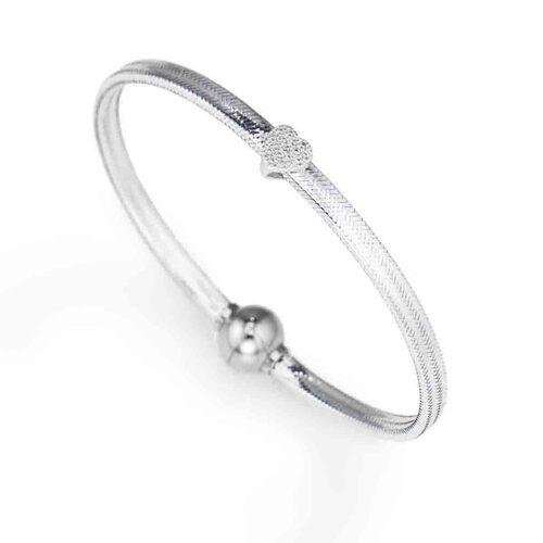 Bracelet in lurex Silver charm Heart in AG925 cubic zirconia