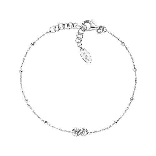 Bracelet Infinity Knurled Rhodium